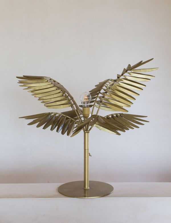 Brass Statement Leaf Table Lamp