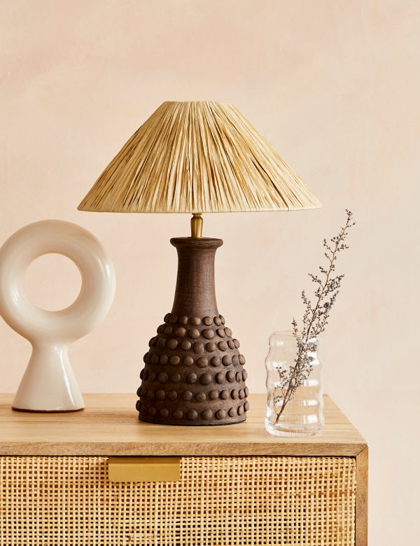 Brown Bobbled Terracotta Table Lamp with Raffia Shade