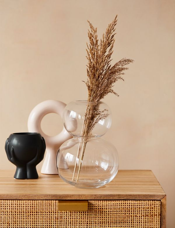 Clear Double Bubble Glass Vase with pampas grass