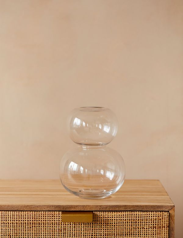 Clear Double Bubble Glass Vase
