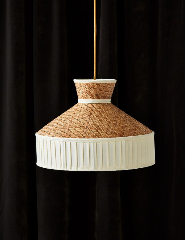 Cane and Cotton Ceiling Lamp