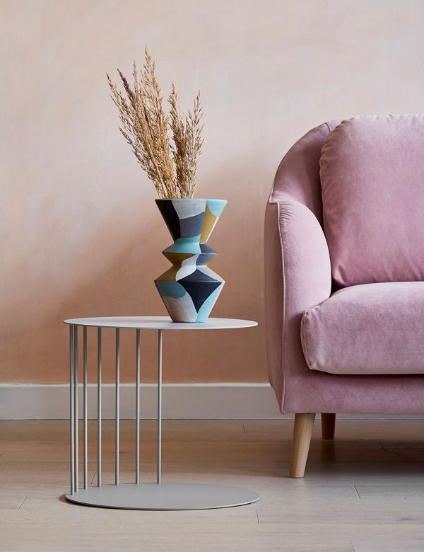 Cara Dove Grey Steel Side Table