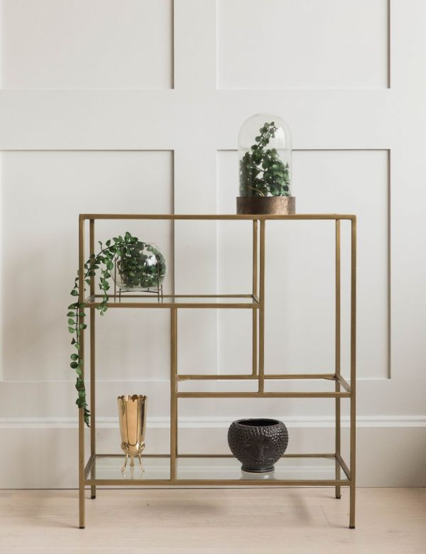 Antique Brass & Glass Console Table