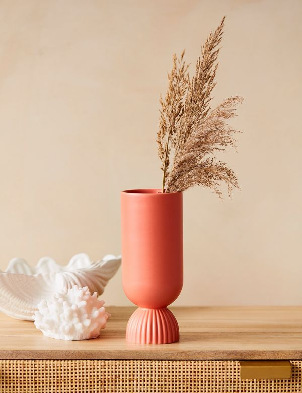 Coral Scalloped Vase with pampas grass