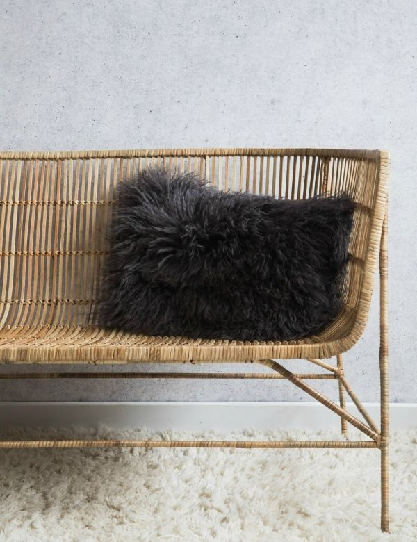 Dark Grey Tibetan Sheepskin Cushion