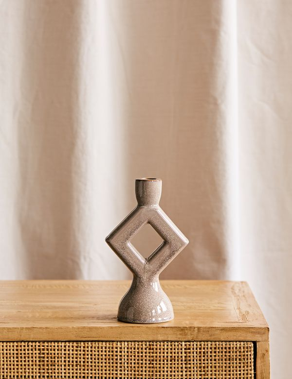 Diamond Stoneware Candle Holder - Grey