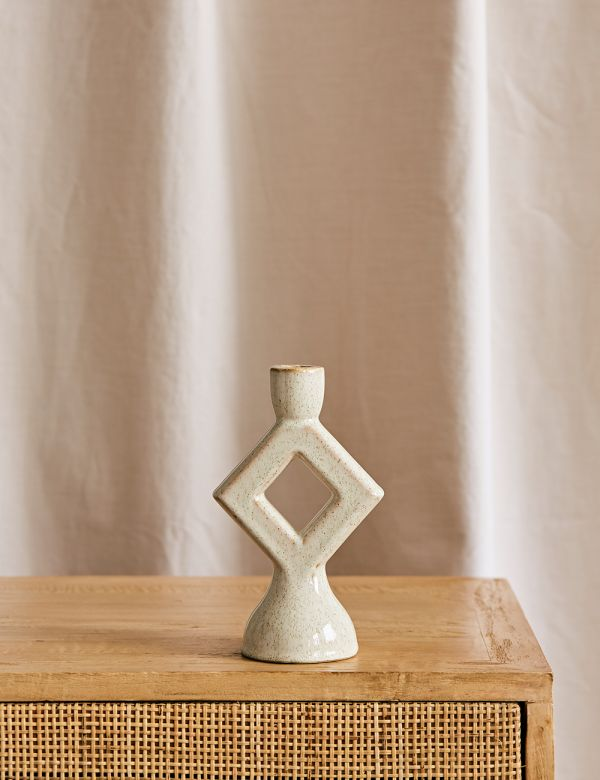Diamond Stoneware Candle Holder - Off White