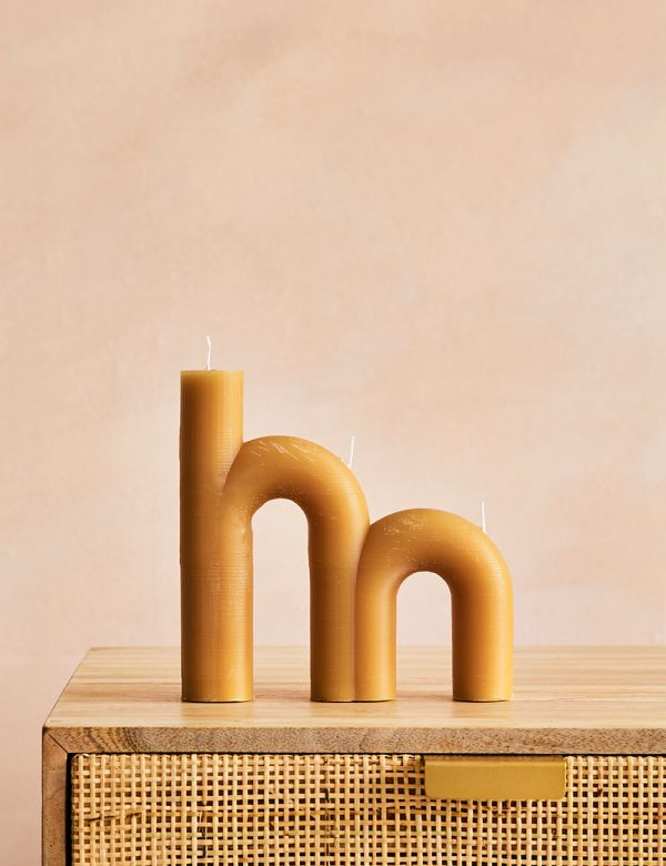 Double Arch Candle - Honey Gold