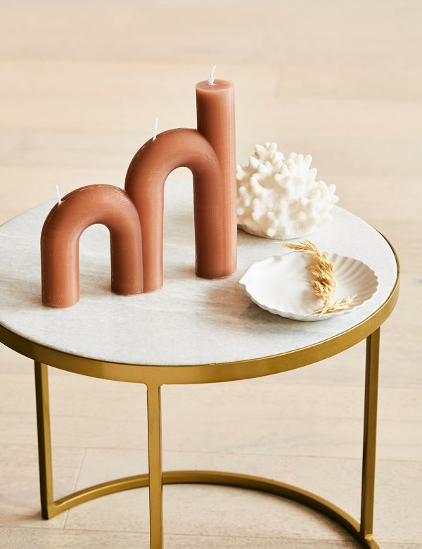 Double Arch Candle - Tan