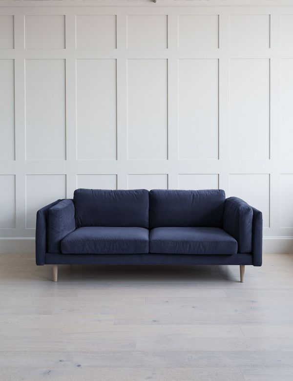 Dulwich Sofa 3 Seater in Oxford Blue Aquaclean Velvet