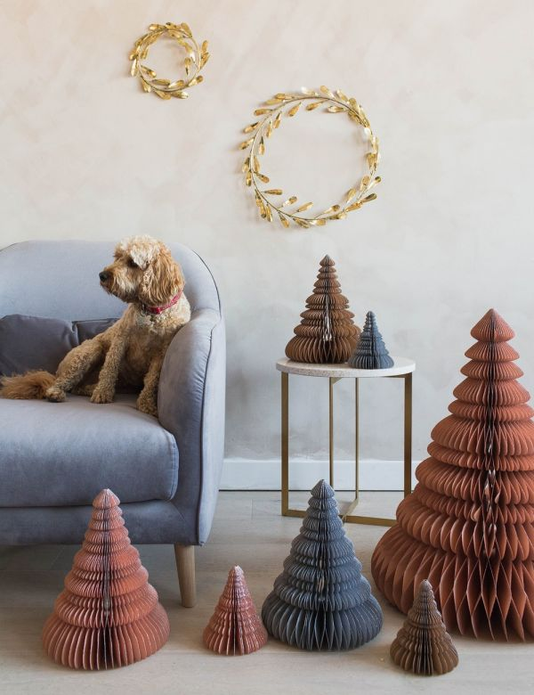 Dusty Pink Paper Christmas Trees - Set of Three