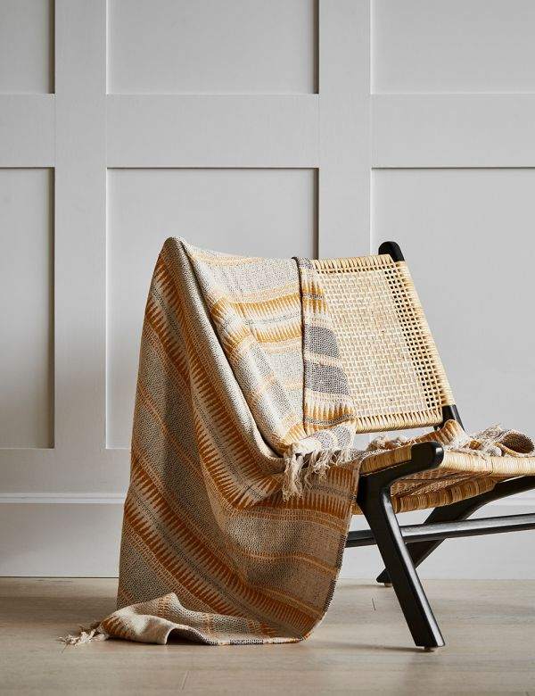 Ecru and Honey Striped Woven Throw