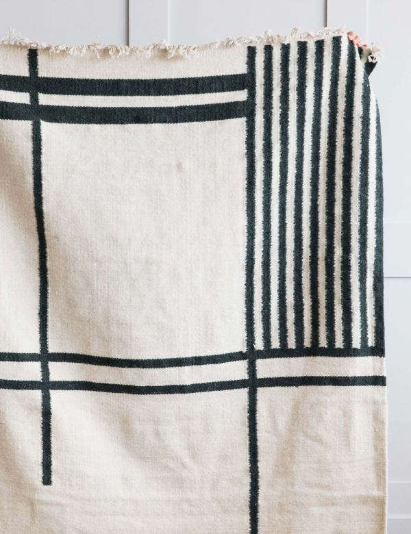 Ferm Living Green & Cream Geometric Print Kelim Rug - Large