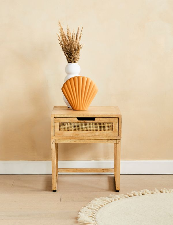 Rattan Webbed Bedside Table