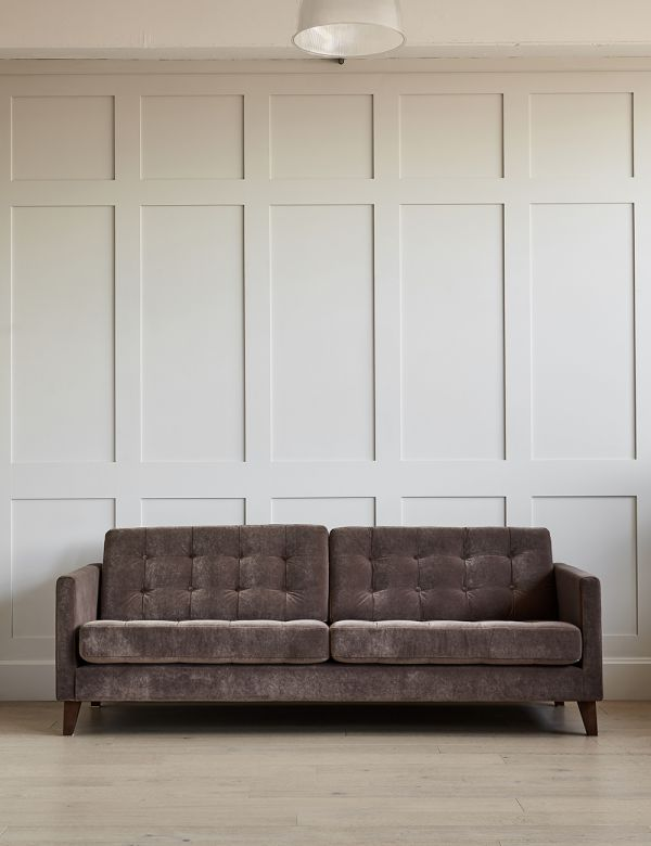 Kingston Button And Stud Sofa - 3 Seater in Classic Velvet Taupe