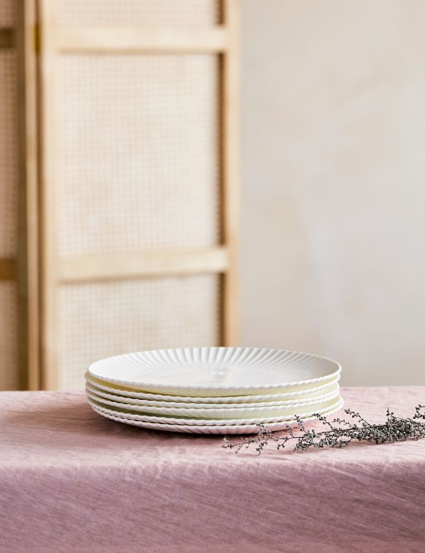 Frances White Scalloped Dinner Plate