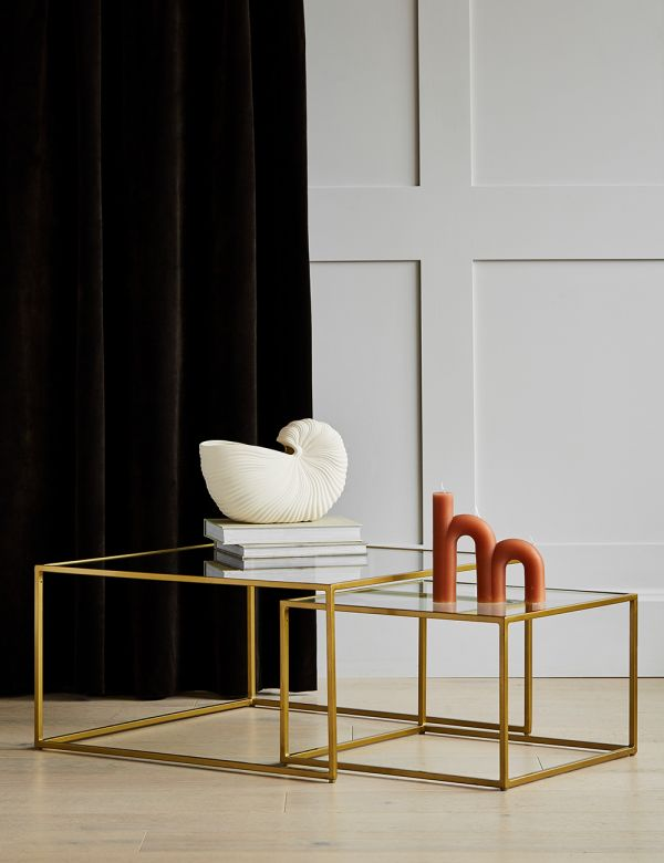 Gabrielle  Brass & Glass Nesting Coffee Tables
