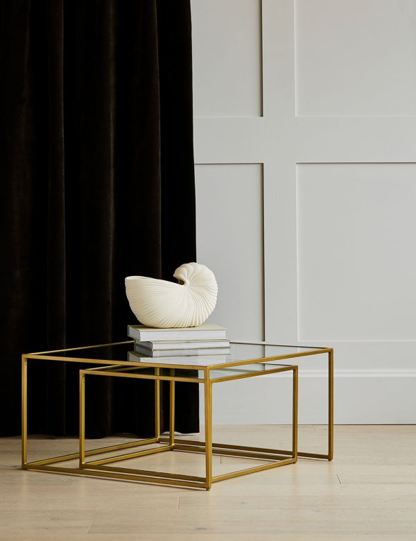 PREORDER Gabrielle  Brass & Glass Nesting Coffee Tables