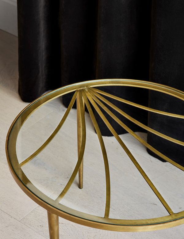 PREORDER Gabrielle Brass & Glass Sunburst Side Table