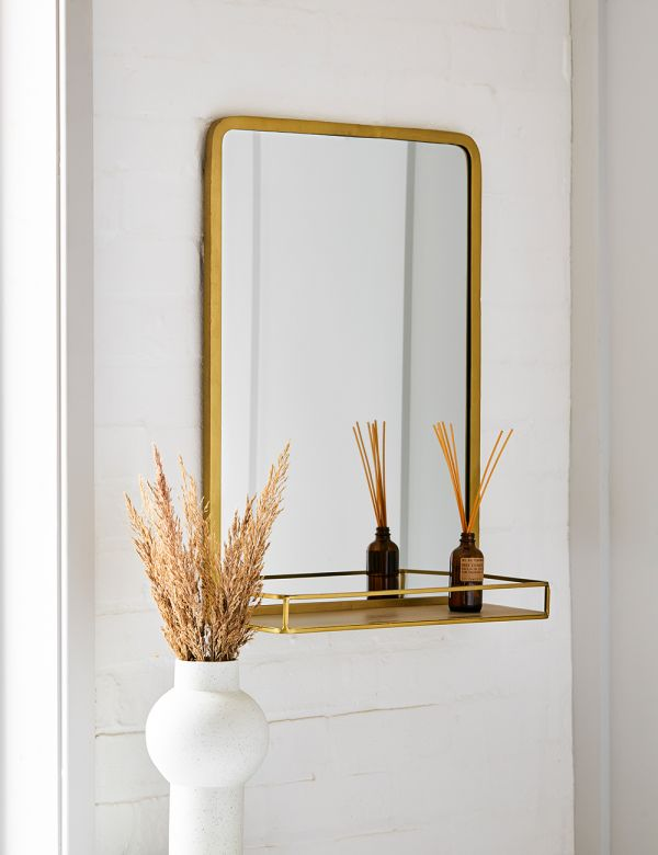 Gabrielle Brass Mirror with Shelf