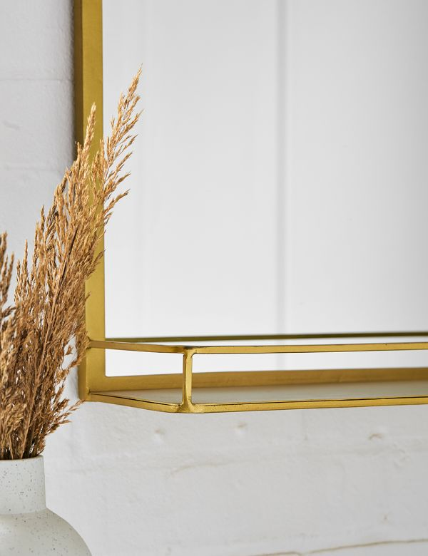 PREORDER Gabrielle Brass Mirror with Shelf