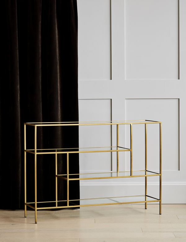 PREORDER Gabrielle Large Brass & Glass Console
