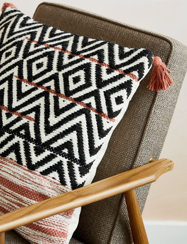 Geometric Tasselled Cushion