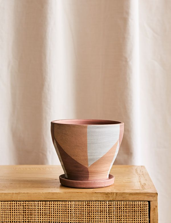 Geometric Terracotta Pot