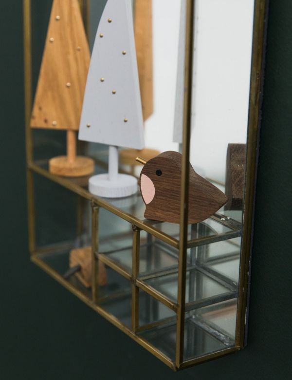 Glass & Brass Hanging Mirrored Shelf
