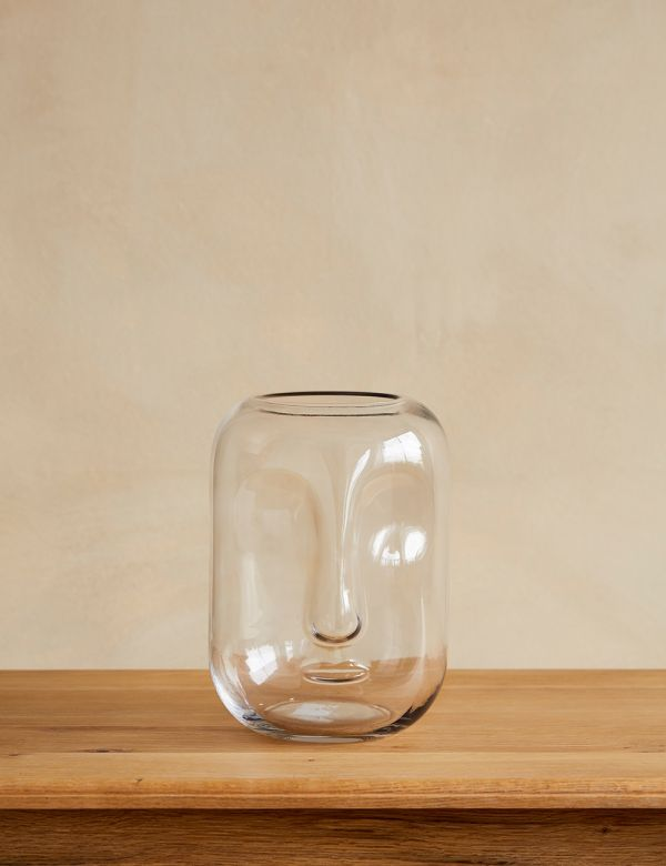 Glass Face Imprint Vase