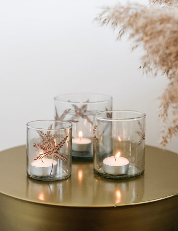 Glass Palm Votive - Three Sizes Available