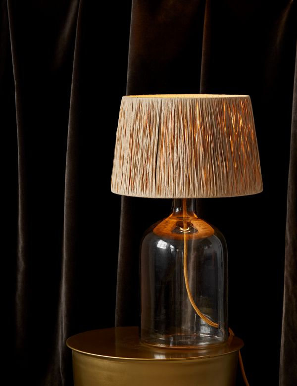 Glass Table Lamp With Raffia Shade