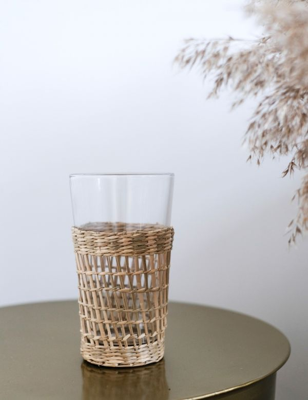 Glass & Wicker Cup