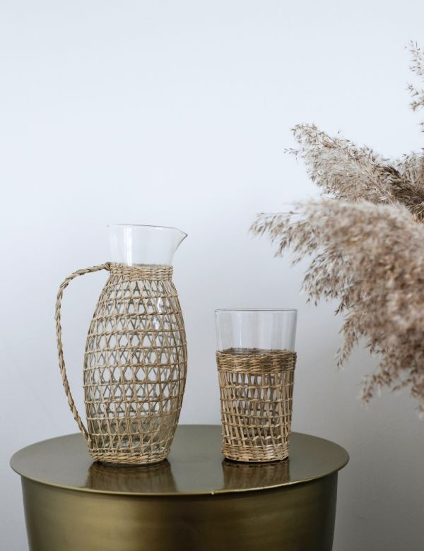 Glass & Wicker Jug