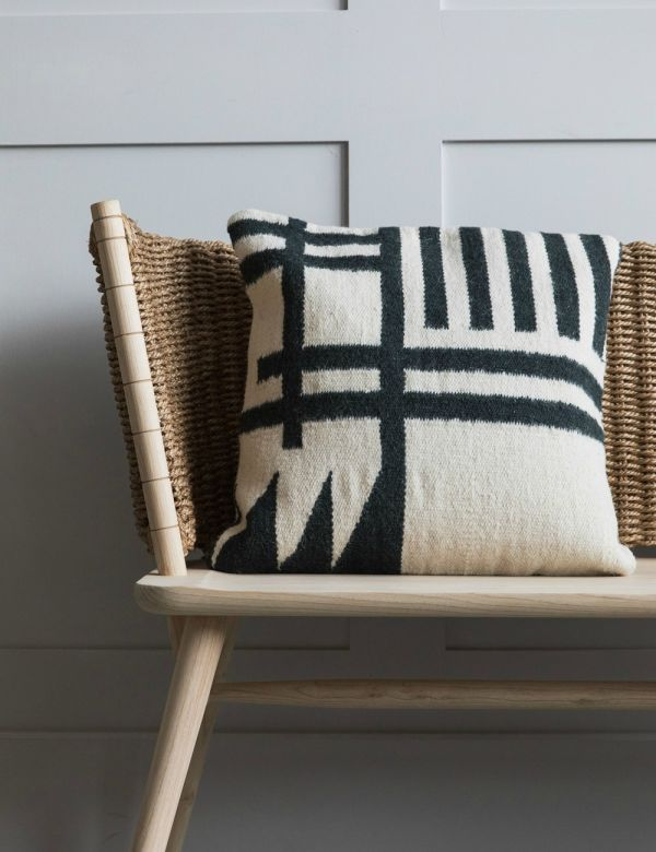 Green & Cream Geometric Print Kelim Cushion