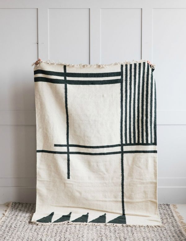 Ferm Living Green & Cream Geometric Print Kelim Rug