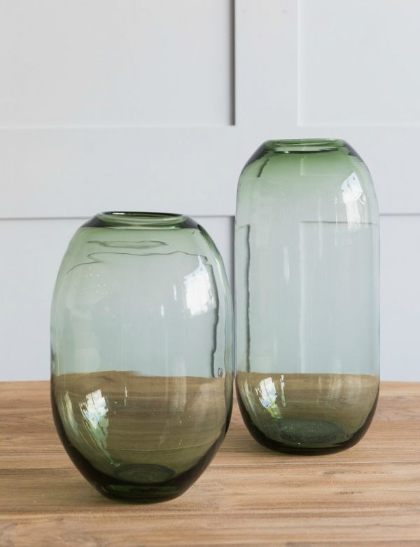 Green Glass Vase - Two Sizes Available