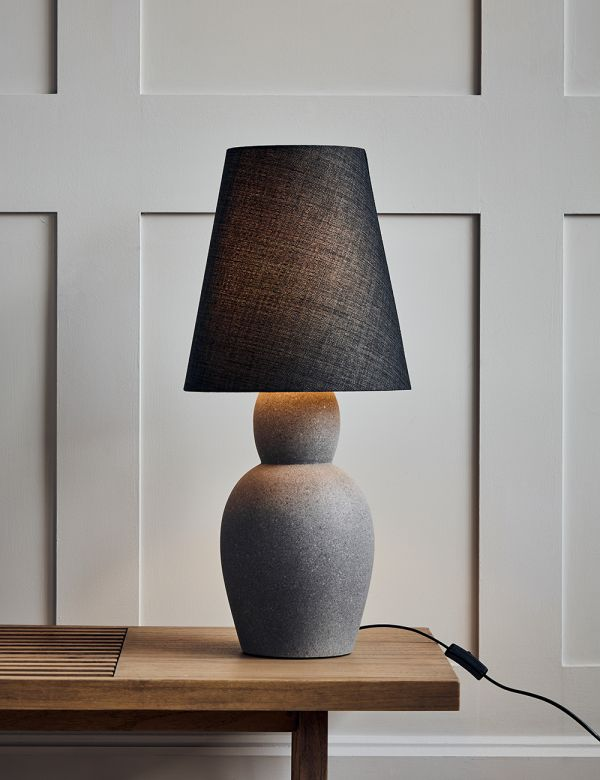 Grey Cement & Linen Table Lamp