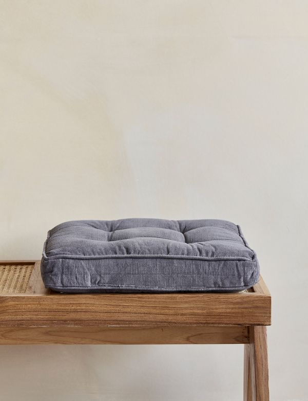 Grey Corduroy Chair Cushion