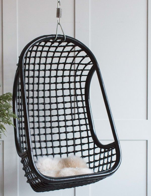 Hanging Rattan Chair - Black
