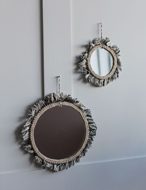 Hanging Mirror with Black Cotton Fringing - Two Sizes