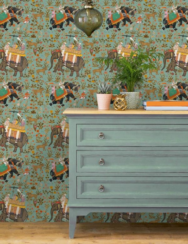 Mind The Gap Wallpaper Collection - Hindustan Aquamarine