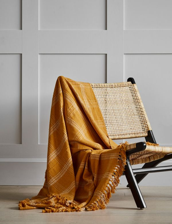 Honey Checked Woven Throw