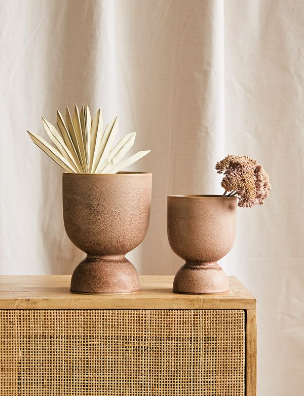 Hourglass Stoneware Plant Pot - Two Sizes Available