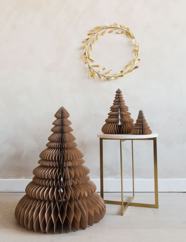 Indian Tan Paper Christmas Trees - Set of Three