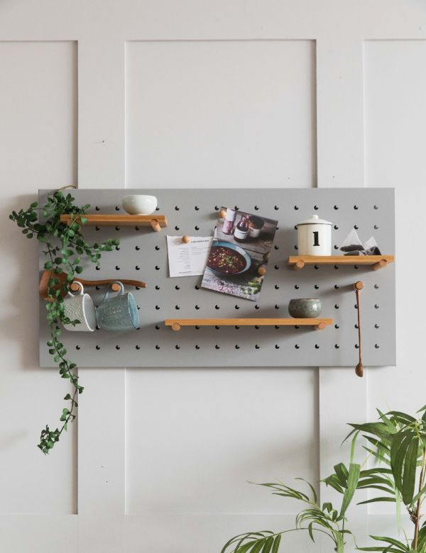 Iron Pegboard with Wooden Shelves by Zuiver - Grey