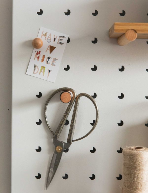 Iron Pegboard with Wooden Shelves by Zuiver - White