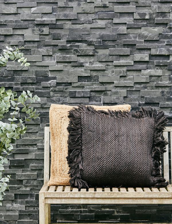 Jute Black Outdoor Cushion