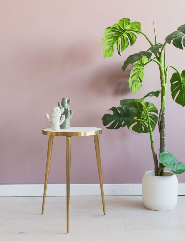 Kate White Concrete & Brass Side Table