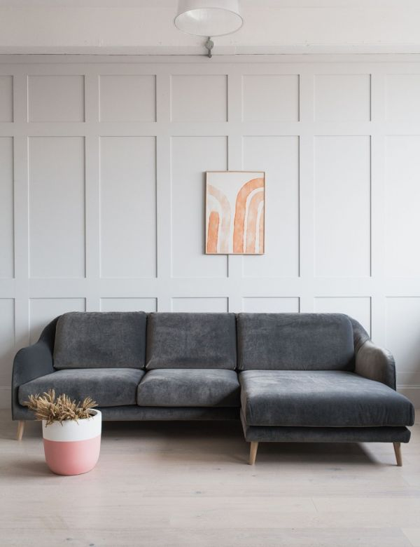Kew Corner Sofa in Elephant Grey Classic Velvet - Right Hand Facing